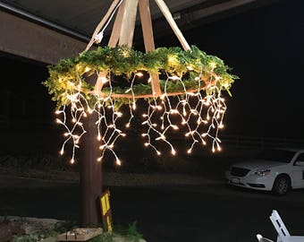OUTDOOR CHANDELIER - Rustic, shabby chic handmade. Great for weddings.