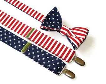 Mens Suspenders~American Flag Set~Suspender and Bow Tie Set~American Flag~Mens Self Tie Bow Tie~Flag Suspenders~Cotton Suspenders~Flag Tie