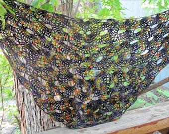 Hand Painted Merino Wool Lightweight Shawlette