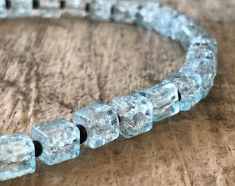 "41pcs 6mm Blue Square Glass Beads, 12.5"" Strand, Glass Beads, Destash Jewelry Making Supplies, Jewelry DIY, Jewelry Supply"