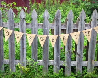 How Sweet It Is Burlap Banner, Wedding Decor, Rustic Wedding Decor, Sweets Table Banner, Burlap Banner Sign, Dessert Table Flags Banner