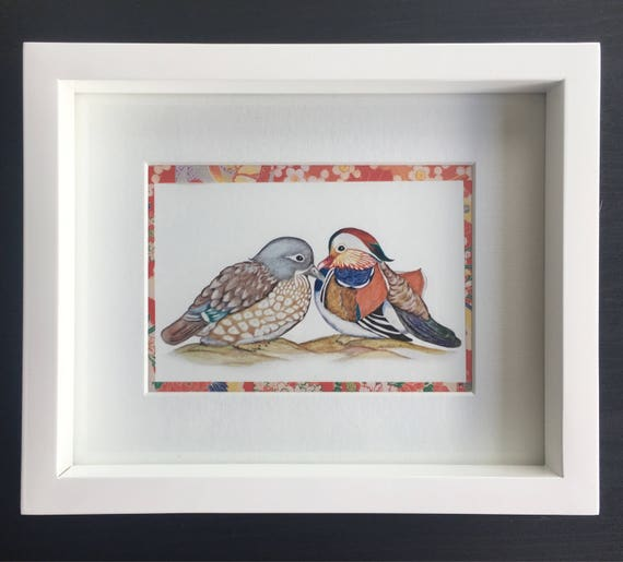 Decorated with Japanese tape and mounted in white mount, two lovely Feng Shui Symbols of Love & Loyalty; a colourful Mandarin Duck Couple.