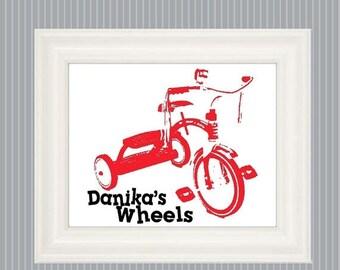 SALE Tricycle Poster,  Tricycle Art, Vintage Tricycle, Trike Print, Bicycle Nursery, Bicycle Bedroom, Bicycle Room Decor, Trike Sign