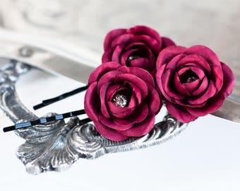 719_ Red rose, Bridesmaid hair pins, Wine rhinestones hair pin, Bridal flower hair clips, Silk red flower, Bridesmaid roses, Rose for bride