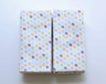 "Polka Dot Flannel Cotton Pocket (10X10"") Size, Set of 8 - Natural Tissue Alternative"