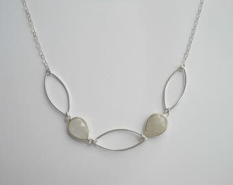 Moonstone Necklace, Statement Necklace, Sterling Silver, Marquis Necklace, Wedding Jewelry, Natural Stones, Gemstone Necklace