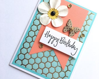 Turquoise & Coral Birthday Card // Floral Birthday Card **READY TO SHIP**