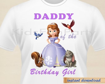 Disney Sofia the First DADDY of the Birthday Girl - INSTANT DOWNLOAD -  Birthday Girl - Sofia the First  Party Favors