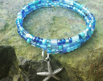 Ocean dreams beaded bracelet with starfish charm on memory wire