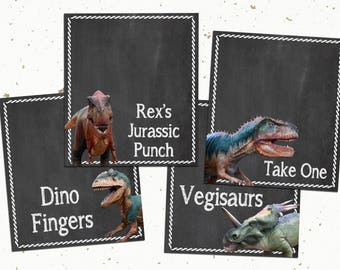 "Printable Dinosaur Chalkboard Table Tents, 3.5 x 4"" set of 4"