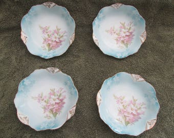 """Set of 4 Prussia With the Wheelock Stamp 5"""" Sauce Dishes"""