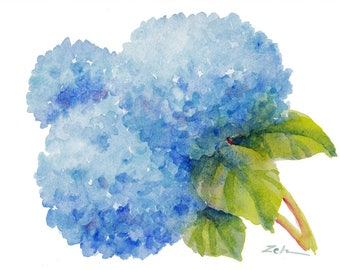 Blue flower hydrangea original watercolor painting of flowers, country floral wall decor, 6x8 small impressionist vignette art by Janet Zeh