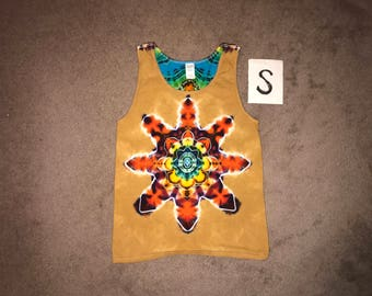 Tie Dye Tank Top ~ Fire Mandala With Palomino Gold Background ~ i_6096 in Adult Small