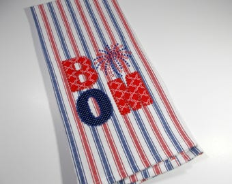Embroidered Towel - Kitchen Towel - July 4th - Boom -  10 dollar gift - July fourth Kitchen Towel - 4th of July - independence Day - July