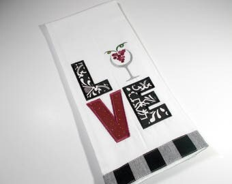 Love Wine  Towel - Embroidered Towel - Kitchen Towel - Wine  Kitchen Towel - 10 dollar gift - Funny Kitchen Towel- Wine Drinker  – tea towel