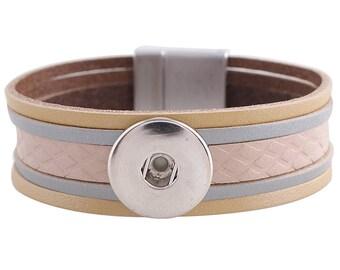 "1 Beige Leather Bracelet - 6.75"" FITS 18MM Candy Snap Charm Jewelry Silver KC0038 CJ0816"