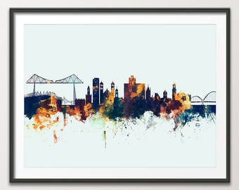 Middlesbrough Skyline, 20x28 inch art print poster, SALE 40% off RRP, only 1 available (x2644)