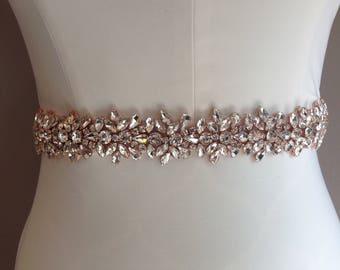 Bridal Sash -Rose Gold rhinestone encrusted detailing bridal sash with grosgrain ribbon, bridal sash bridal belt rhinestone belt rose gold