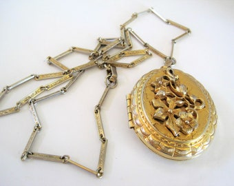 Gold Tone Locket and Chain - Embellished Front - Long Necklace