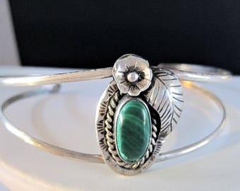 Sterling Malachite Cuff, Unsigned Sterling, Malachite Stone Center, Collectible Bracelet