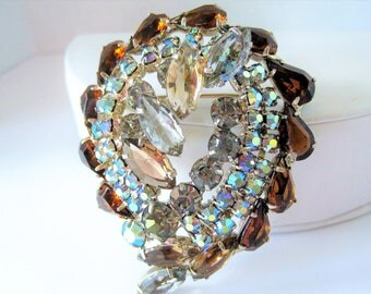 Juliana Style Brooch, Topaz and Aurora Borealis, Large Layered Rhinestone Brooch