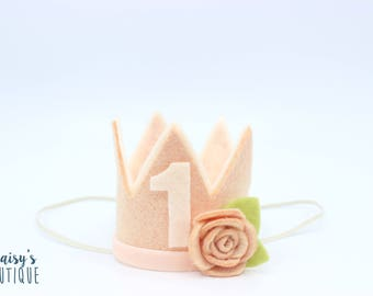 First Birthday Crown Baby Girl/ Peachy Pink Flower Felt Crown/ Girl Birthday Crown/ Party Hat/ Birthday Outfit / Cake Smash/ Salmon Pink
