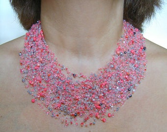 Coral  pink and grey air necklace and bracelet,  multistrand necklace, beadwork necklace
