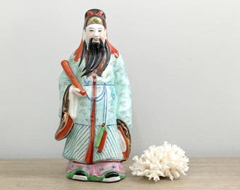 Vintage Chinese Luk Figurine Statue Three Immortals Feng Shui Chinese Decor