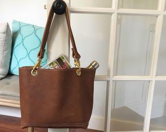 Rugged Leather Handbag with Brass Hardware, Leather Tote Bag, Leather Shoulder Bag