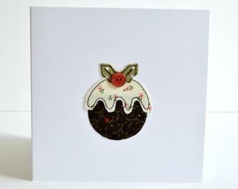 Christmas pudding card, Christmas card, sewn Christmas card, stitched Christmas card, embroidered Christmas card, Christmas pudding