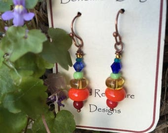 Rainbow Earrings, Free Spirts,Give the Gift of Joy, Unity,Bright Color,All Handmade glass & Crystal,Free Gift Wrapping, Free Shipping in USA