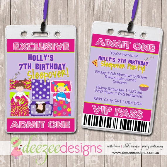 Slumber Sleepover Party VIP Lanyard Birthday Invitations x 10
