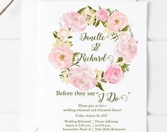 Rehearsal Dinner Invitation, Printed Invitation, Digital, Watercolor, Pink, Peonies, Rehearsal Dinner, Wedding Rehearsal, Floral, Unique