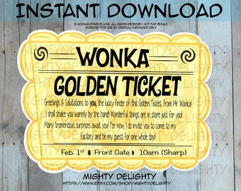 Willy Wonka Inspired Golden Ticket Decoration