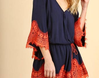 ITZEL Romper in Blue with Orange Lace Trim