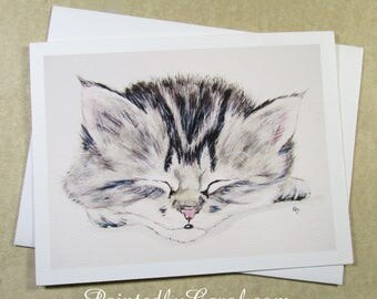 Cat Note Card, Tabby Kitten Note Card, Cat Greeting Card, Card with Kitten, Just Because Card, Any Occasion Card, Cat Card, Kitten Card