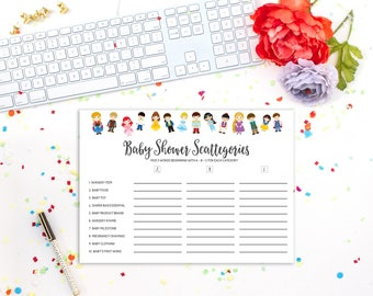 Baby Shower Scattegories, Prince and Princess, Baby Shower Games