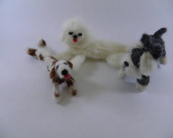Dogs - Three for One Price Adorable Needle Felted Handmade OOAK Miniature Dogs