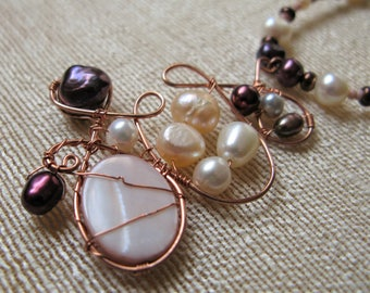 Rainbow Pearls Copper Wirework Necklace