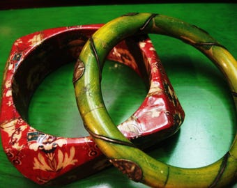 Boho 1990s Vintage Red Wooden and Green Bamboo Bracelets