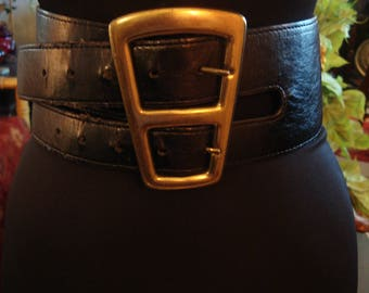 Vintage 1990s Boho Chic Double Strap Belt With Large Gold Window Buckle