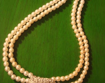 Vintage White Pearl and Bling Double Strand Necklace