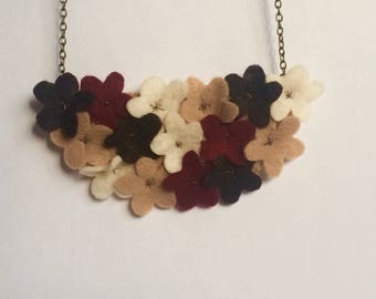 Daisy Patch Statement Felt Necklace - Autumn