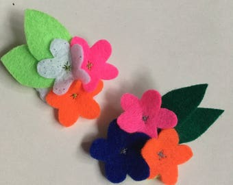 Felt Flower Brooch - Bright Flowers