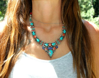 Silver Stone Turquoise Vintage Spiritual Inspired Nomad Necklace