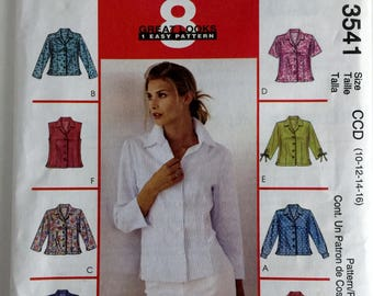 Misses Womens Shirts Flared Fitted Sewing Pattern Uncut FF McCalls 3541 Size 10 12 14 16