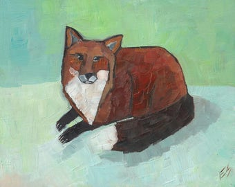 Fox In Snow Original oil Painting