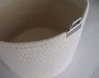 Coiled Basket, Natural Cotton, Storage Container