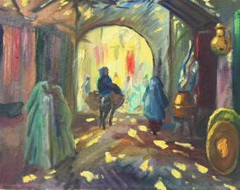 "Orientaliste painting.View of a ""souk"" Oil on hardboard."