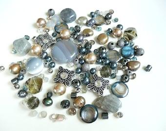 BULK Swarovski Crystals-sliders-gold freshwater pearls-hematite rondelle- bicones-silver sparkle-agate-labradorite-MOP - 145 loose beads